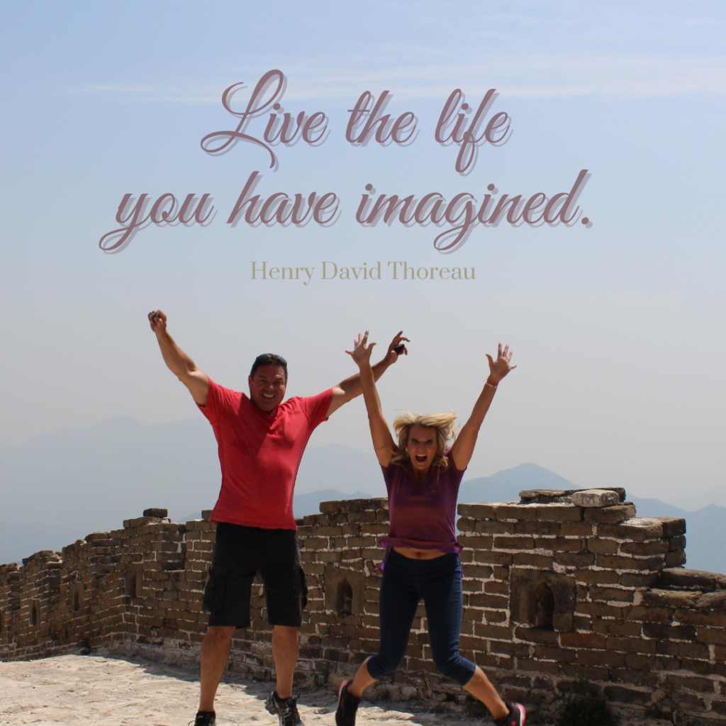 Illustrates living the life you have imagined. Jumping in air on Great Wall of China, May 2016
